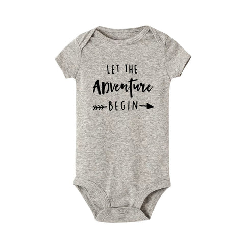 Let the Adventure Begin - Baby Snapsuit, Grey