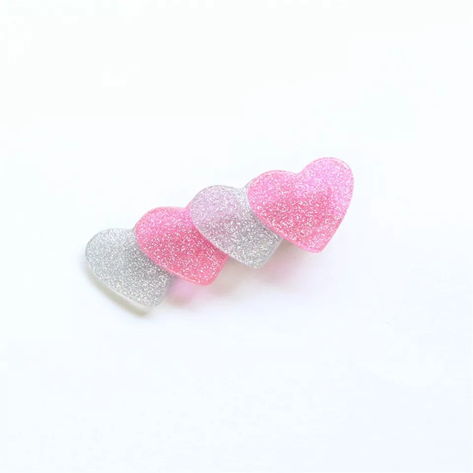 Pink and Silver glittery heart shaped hair clips, 4 hearts