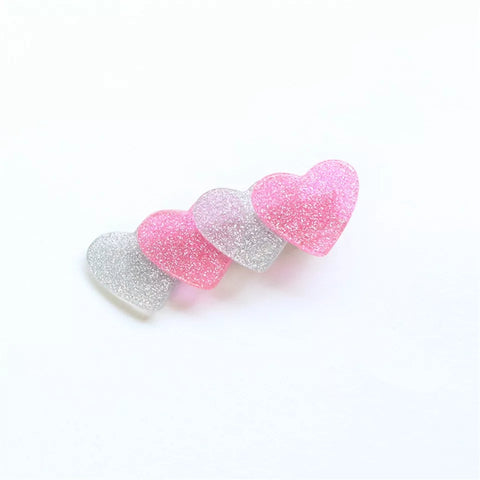 Valentines Heart Hair Clip - Pink/Silver