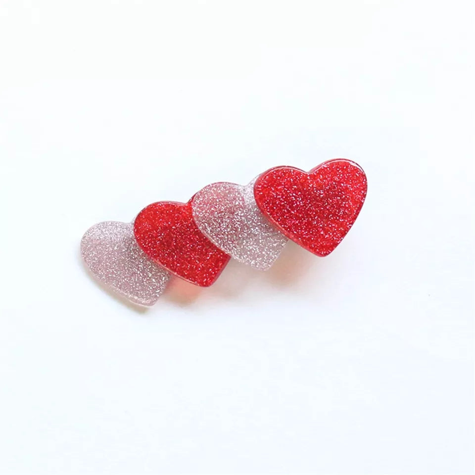 Red and Silver glittery heart shaped hair clips, 4 hearts