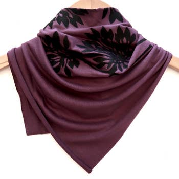 Ladies Hand-Printed Jersey Bandana, Black Allium Plum