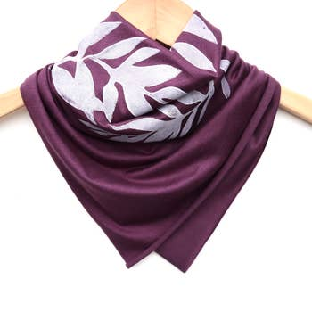 Ladies Hand-Printed Jersey Bandana, White Laurel Plum
