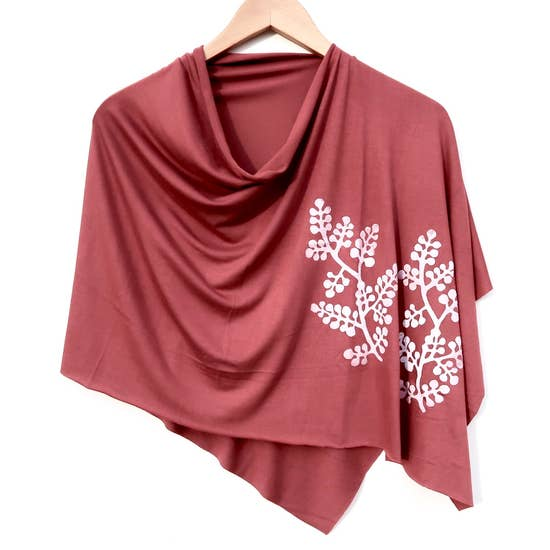 Ladies Hand-Printed Jersey Poncho, Berry Branch Cinnamon
