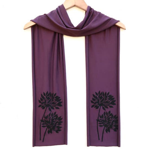 Ladies Hand-Printed Skinny Jersey Scarf, Black Botanical Plum