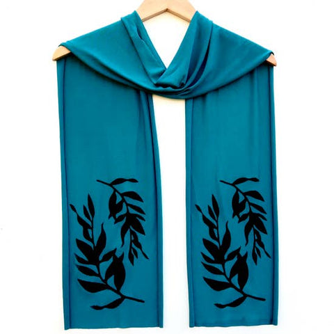 Ladies Hand-Printed Skinny Jersey Scarf, Black Botanical Teal