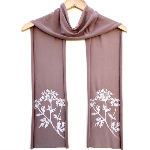 Ladies Hand-Printed Skinny Jersey Scarf, Parsley Taupe White