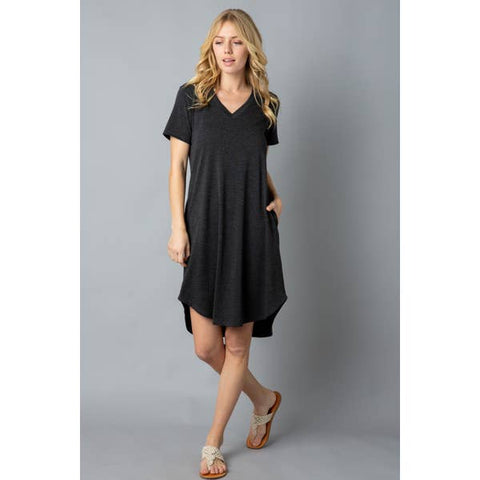 Ladies Soft T-Shirt Tunic with Pockets, Charcoal