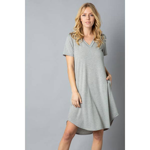 Ladies Soft T-Shirt Tunic with Pockets, Heather Grey