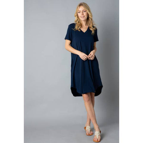 Ladies Soft T-Shirt Tunic with Pockets, Navy