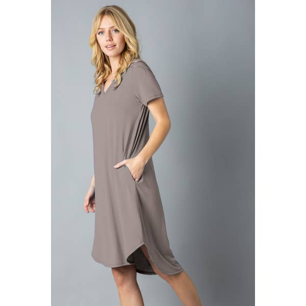 Ladies Soft T-Shirt Tunic with Pockets, Mocha