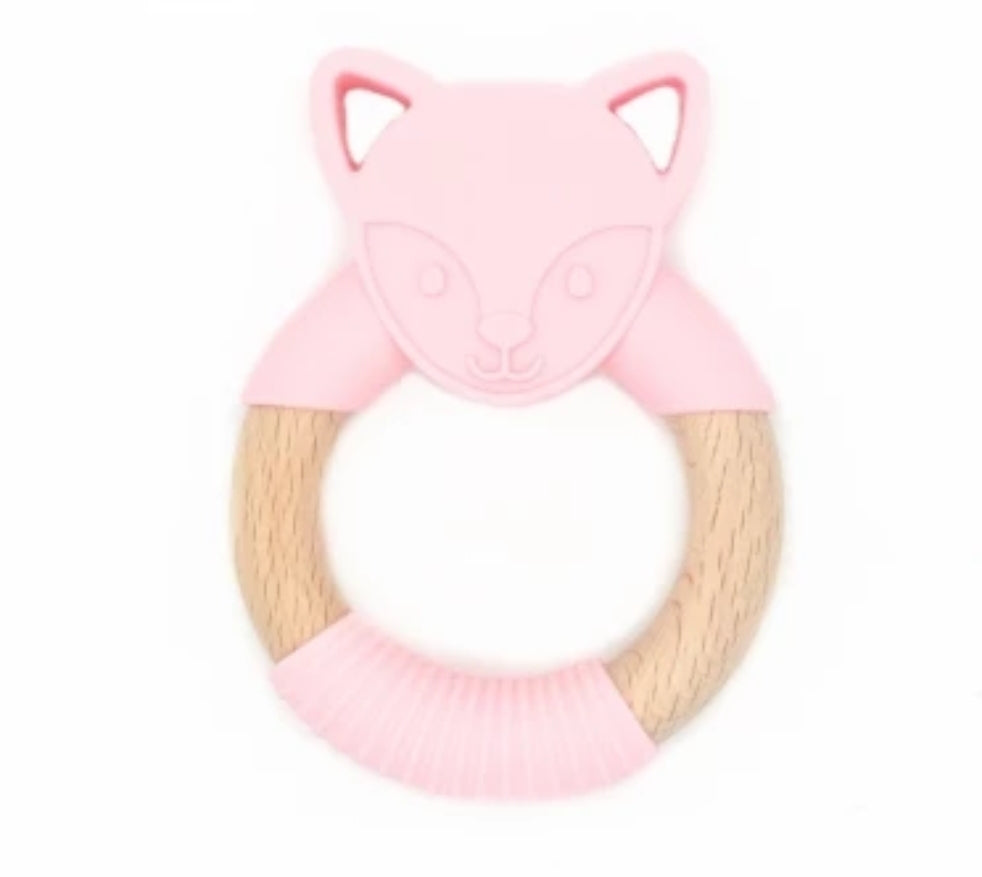 Chew/Teething Accessory - Silicone & Raw Wood Chew & Teething Ring, Pink Woodland Fox