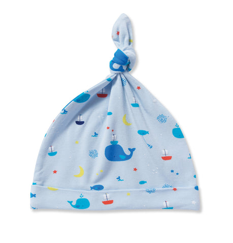 Angel Dear Bamboo Baby Boy Knotted Beanie - Blue Whale