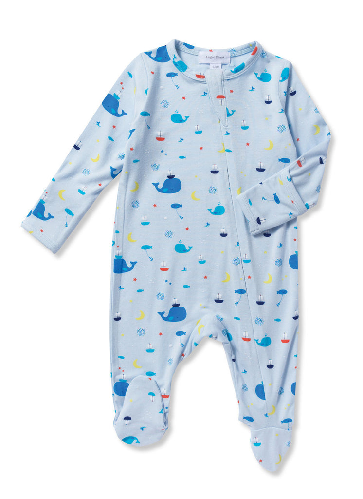 Baby Boy Bamboo Zippered Footie Pajama, Blue Whale
