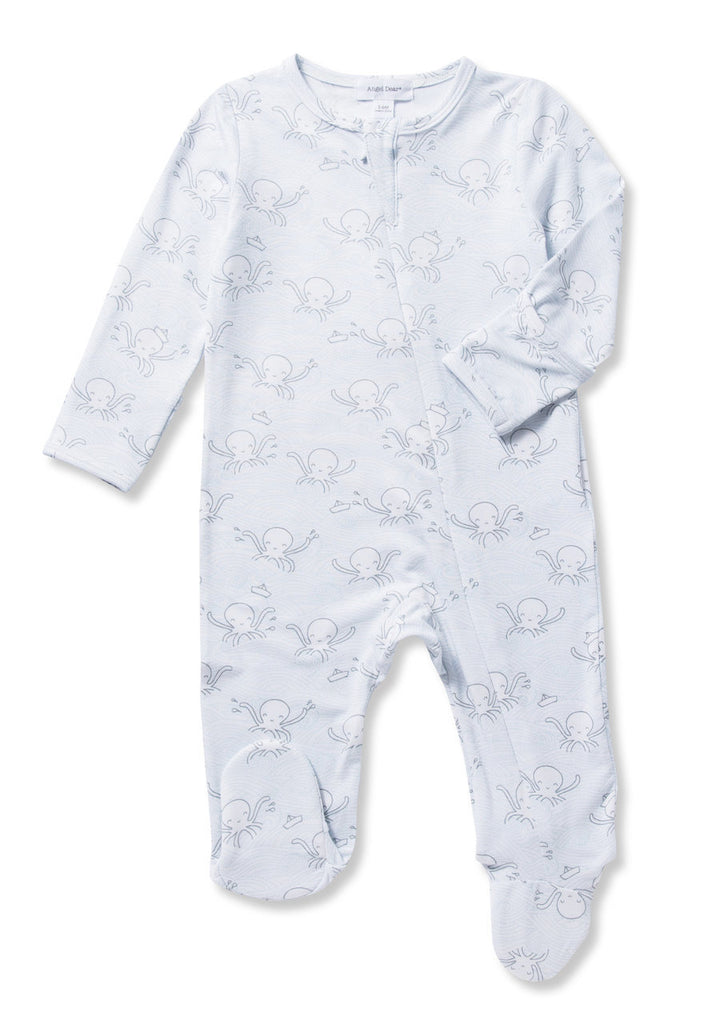 Unisex, gender neutral baby pajamas, octopus, grey and blue print, full zipper
