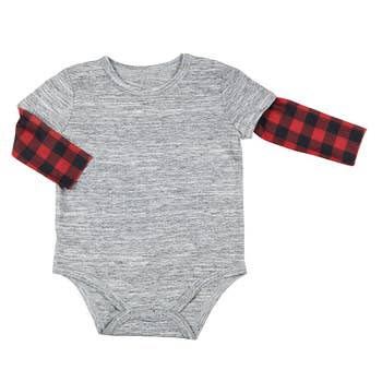 Boys grey bodysuit with red and black checkered sleeves, comes with buttons at the bottom