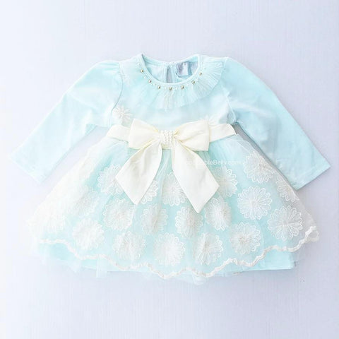 """Lorelei"" Aqua Pearls & Embroidery Overlay, Girl's Spring & Easter Dress"