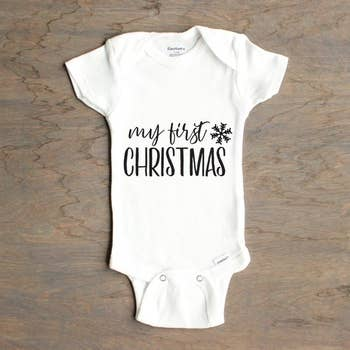 My First Christmas S/S Bodysuit - Unisex, White Onesie