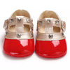 "patent leatherette studded candy apple red soft sold shoes, mini ""Valentino"" Valentina"