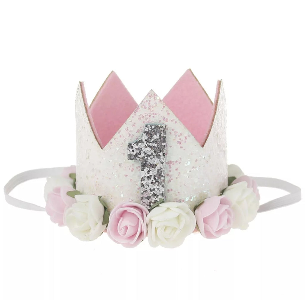 first birthday number one crown, headband for little girls, light pink