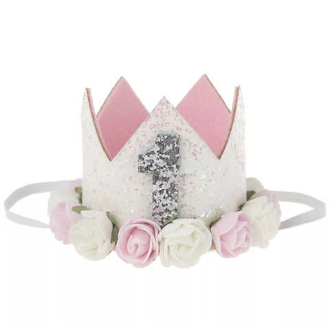 "Birthday Crown, Headband, Birthday Hat ""1"", Soft Pink"