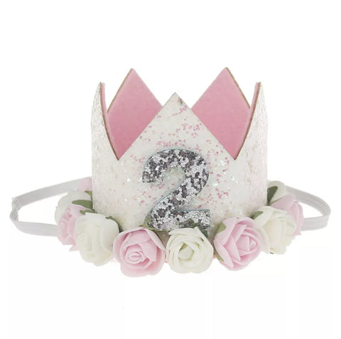 "Birthday Crown, Headband, Birthday Hat ""2"", Soft Pink"