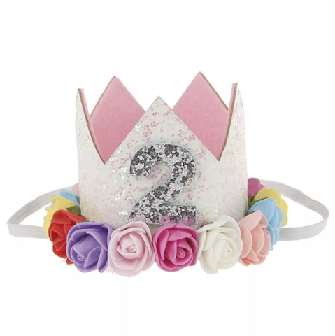 "Birthday Crown, Headband, Birthday Hat ""2"", Brights"