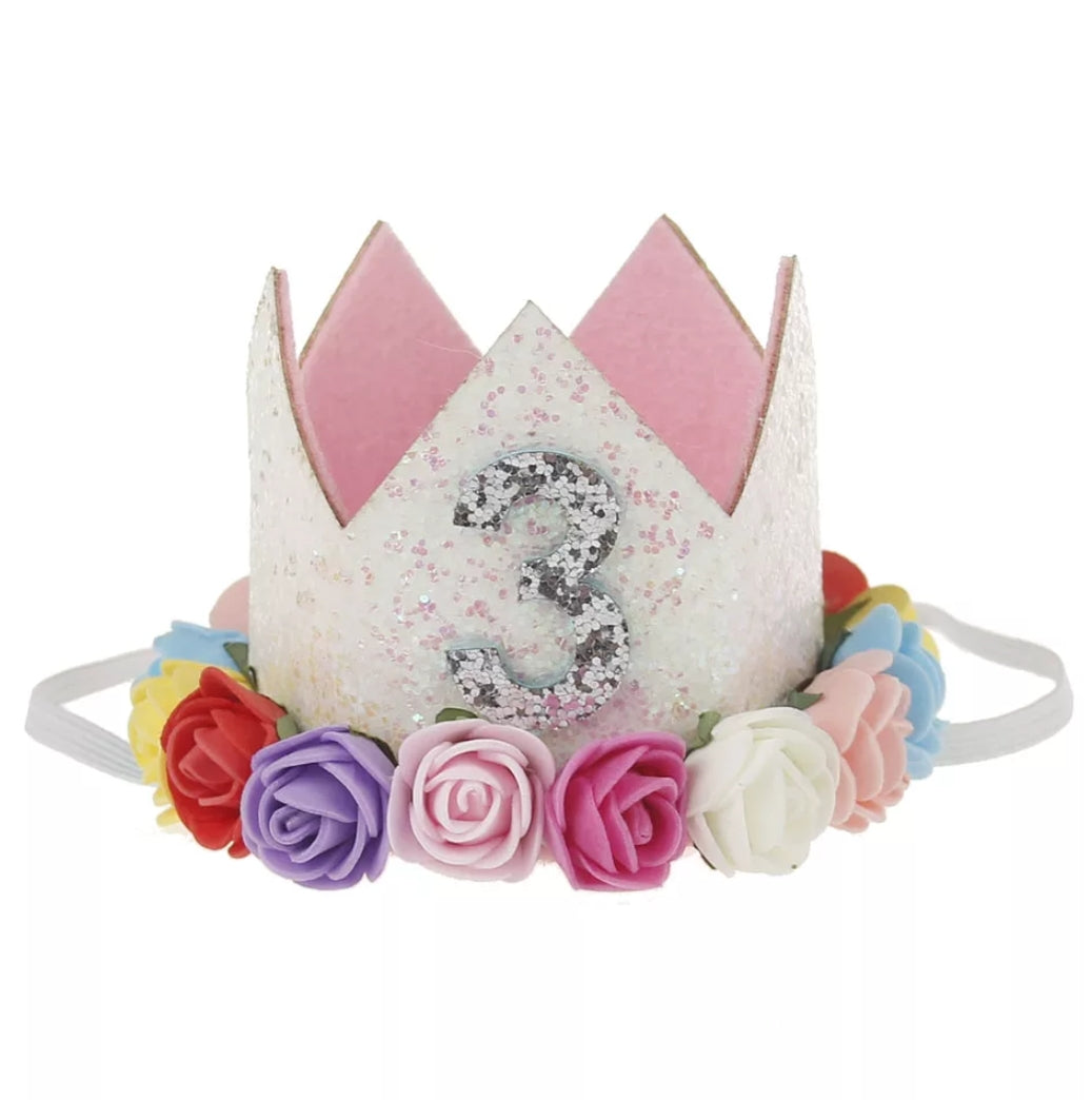 Third Birthday Hat Flower And Glitter Crown For 3 Year Old