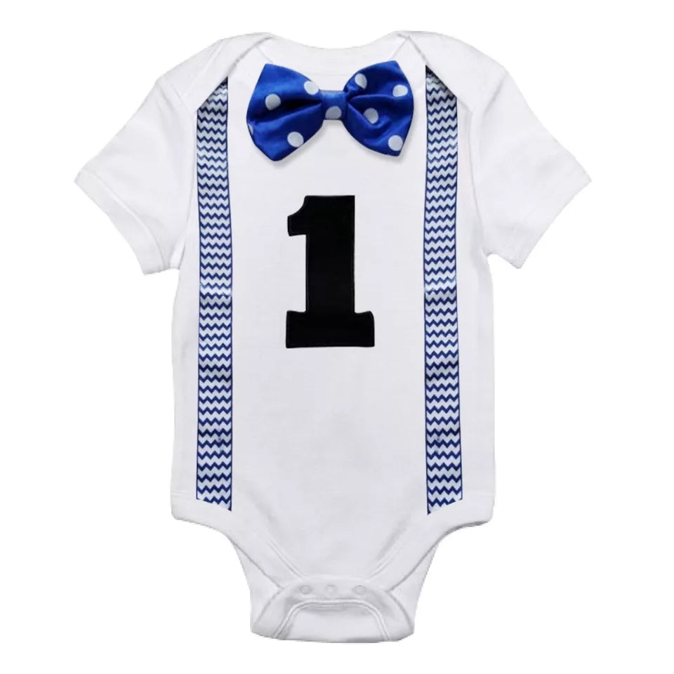 baby boy first birthday onesie, number one, bowtie with faux suspenders