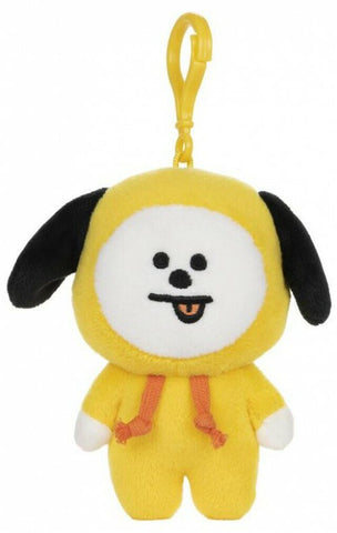 "BT21 Official Line Friends 4"" Plush Backpack Bag Clip, Chimmy Puppy"