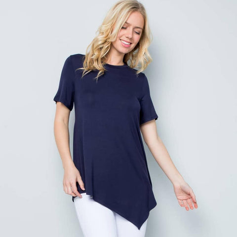 Ladies Crewneck S/S Asymmetric Tunic - Navy