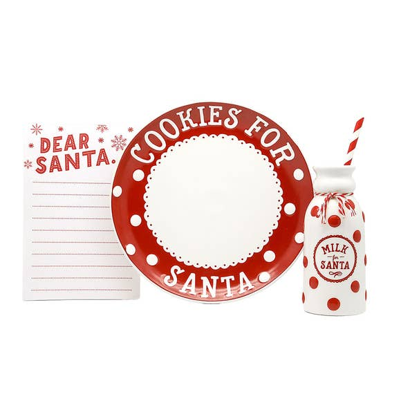 3 piece cookies for santa set, wishlist, plate, and milk jar with straw.