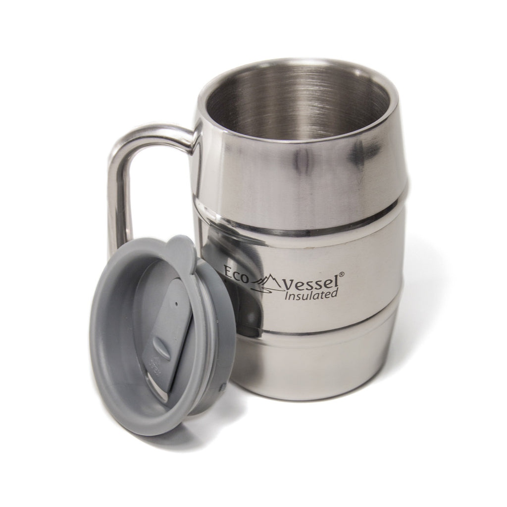 Eco Vessel - Insulated, Double Barrel Stainless Steel Mug With Lid 16 Fl. Oz.