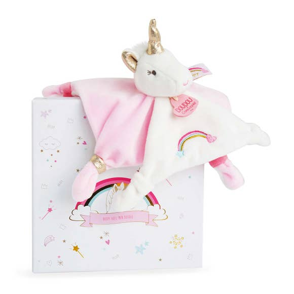 Pink and white metallic unicorn with rainbow embroidered on it