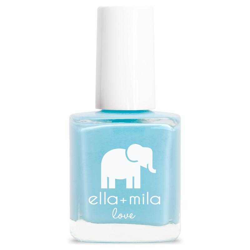 ella + mila cruelty-free natural, kid-friendly nail polish, blue/light summer blue