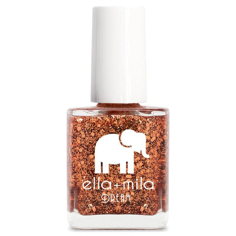 Ella + Mila Cruelty-Free Natural, Kid-Friendly Nail Polish, Bronze Me Baby Translucent/Clear Base Warm Bronze Glitter