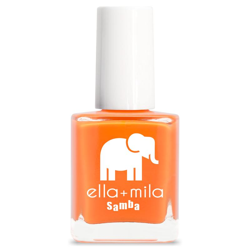ella + mila cruelty-free natural, kid-friendly nail polish, neon orange