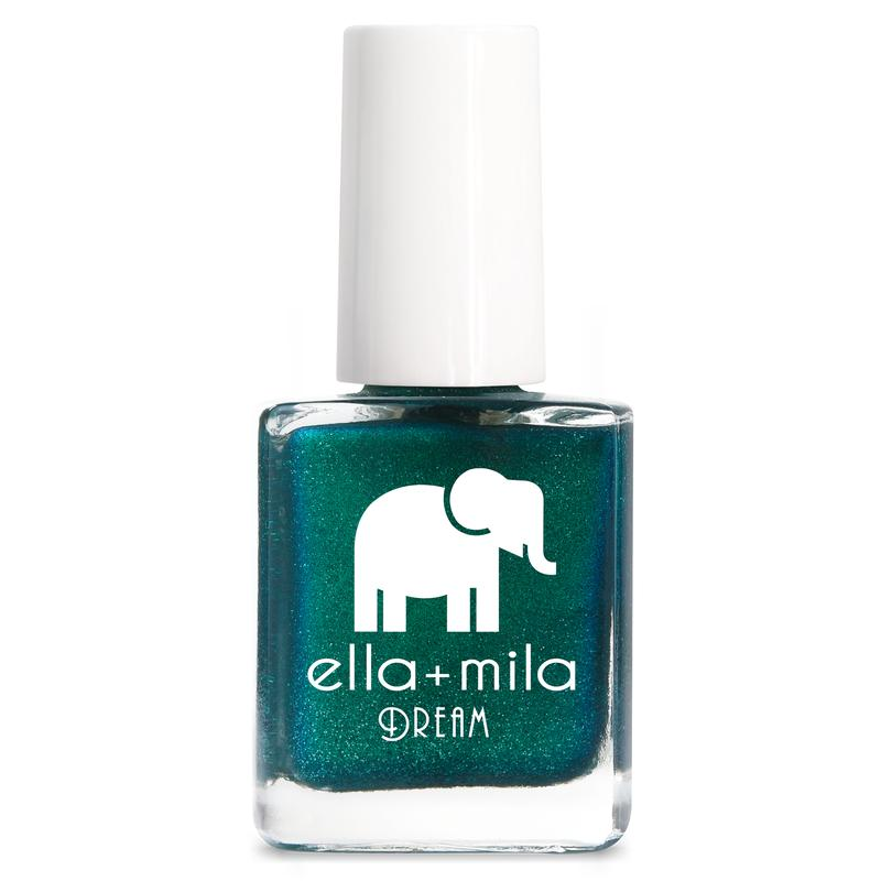 ella + mila cruelty-free natural, kid-friendly nail polish, shimmery dark green