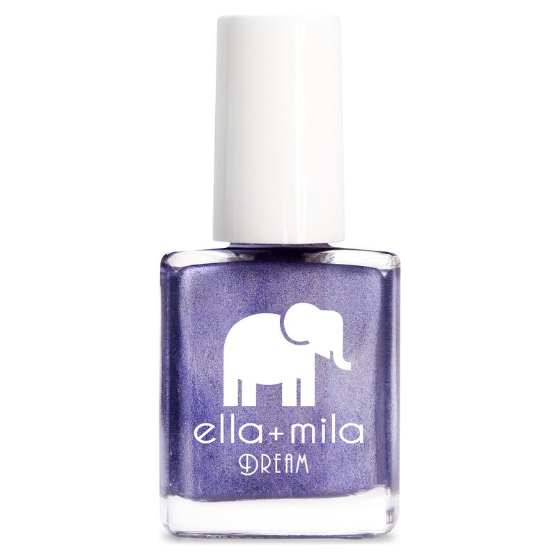 ella + mila cruelty-free natural, kid-friendly nail polish, silvery purple metallic shimmer