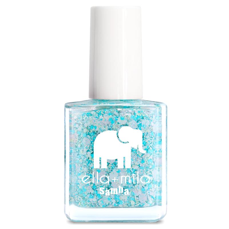 ella + mila cruelty-free natural, kid-friendly nail polish, blue confetti