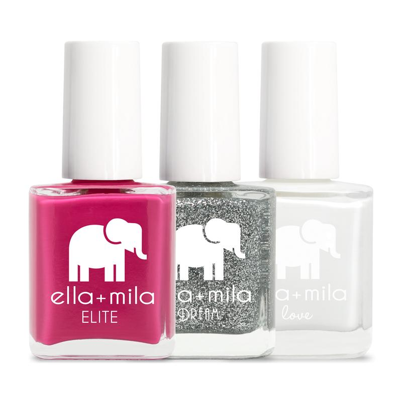ella + mila cruelty-free natural, kid-friendly nail polish, set white silver