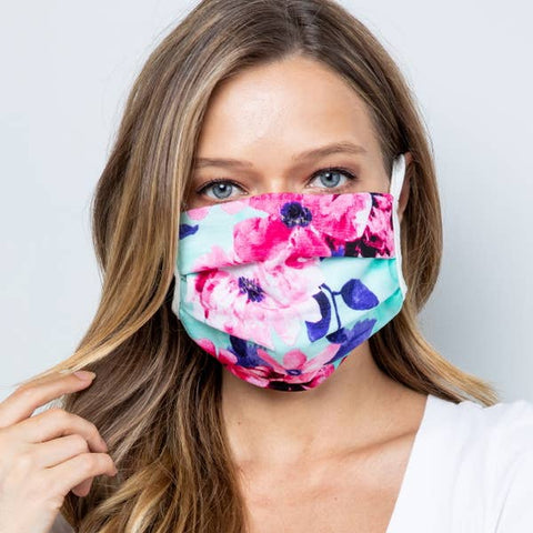 Face Masks, Washable, Reusable, Tween/Adult Size - Aqua Floral