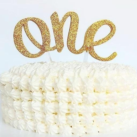 "Birthday Cake Topper, Gold Glitter ""ONE"""