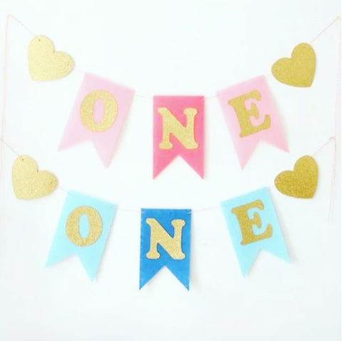"Birthday Pennant, First Birthday, ""one"", Pink or Blue"