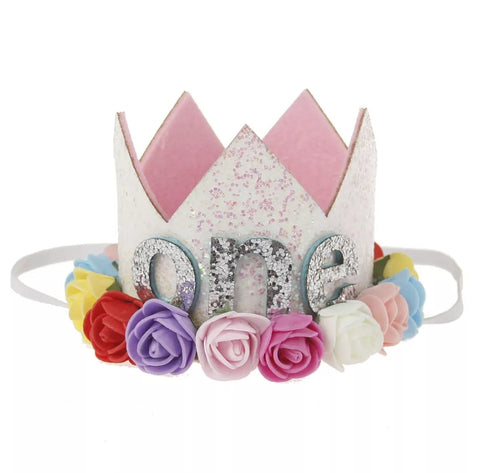 "Birthday Crown, First Birthday Headband, ""one"", Bright"