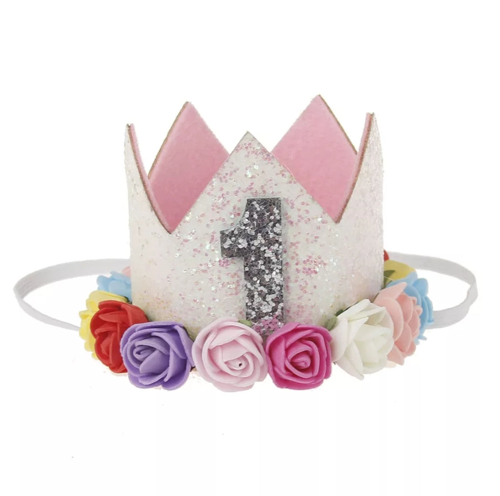 first birthday flower crown, number 1 birthday hat, glitter crown