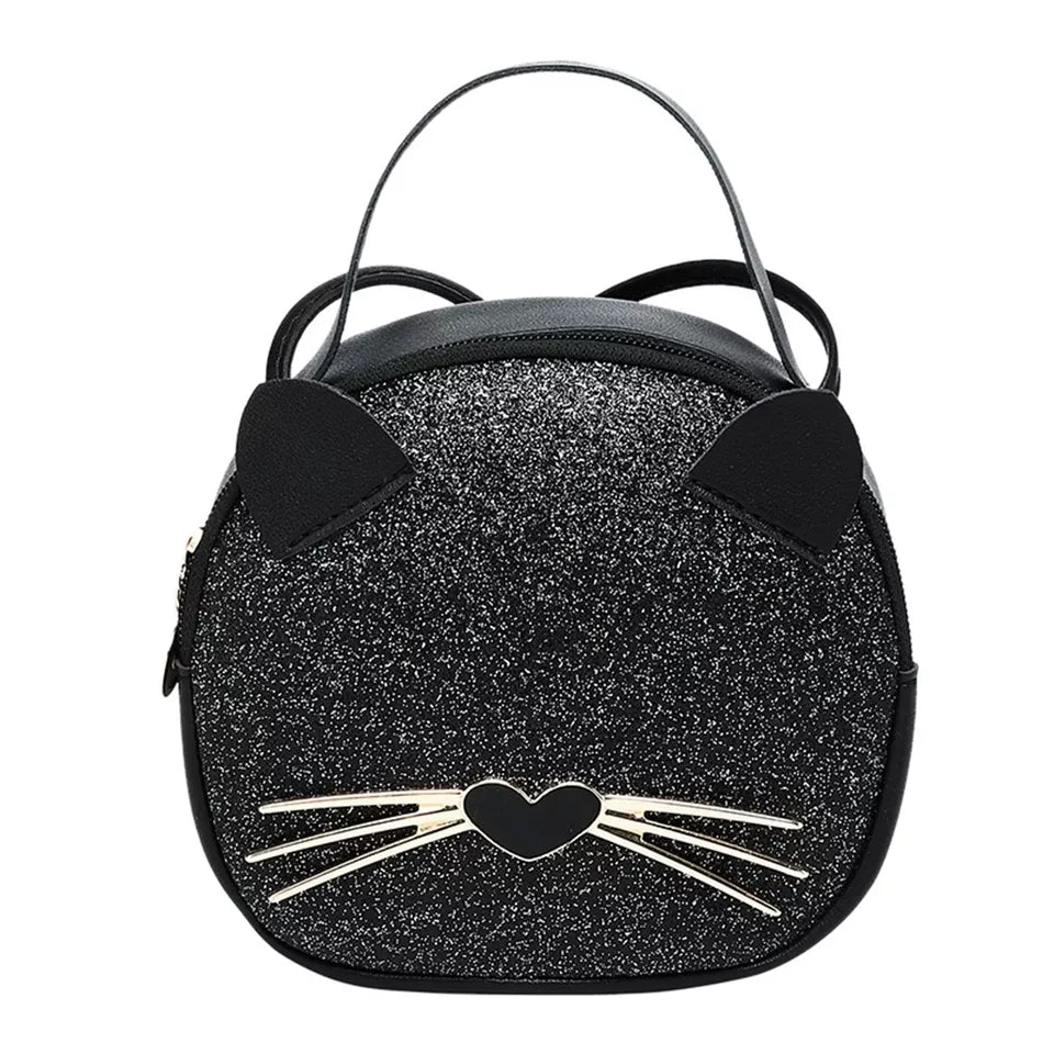 Black Glittery Cat Handbag, Heart Shaped Nose Stitched Whiskers