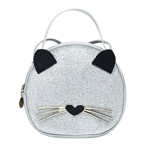 Glitter Kitty Cat Handbag Purse - Silver