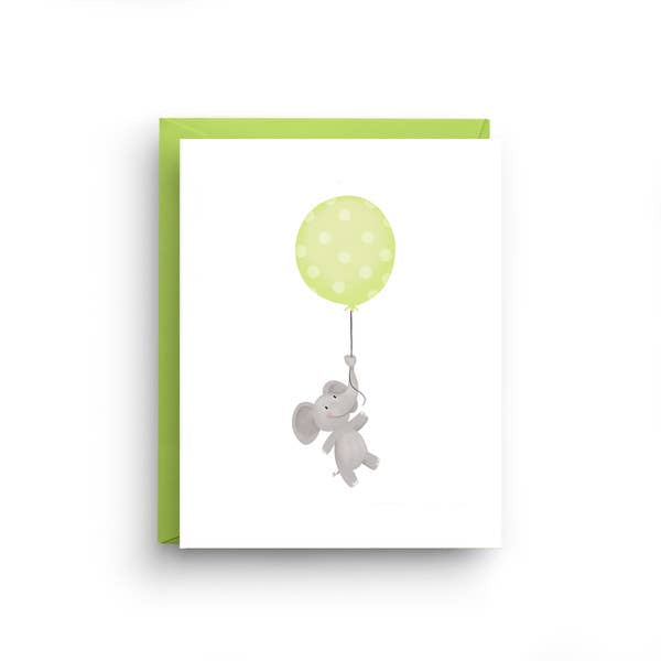 Birthday Card, elephant greeting card, boys and girls birthday, paperie, unisex