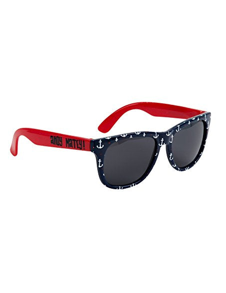 Sunglasses - Classic Wayfarers, Navy/Red Anchors