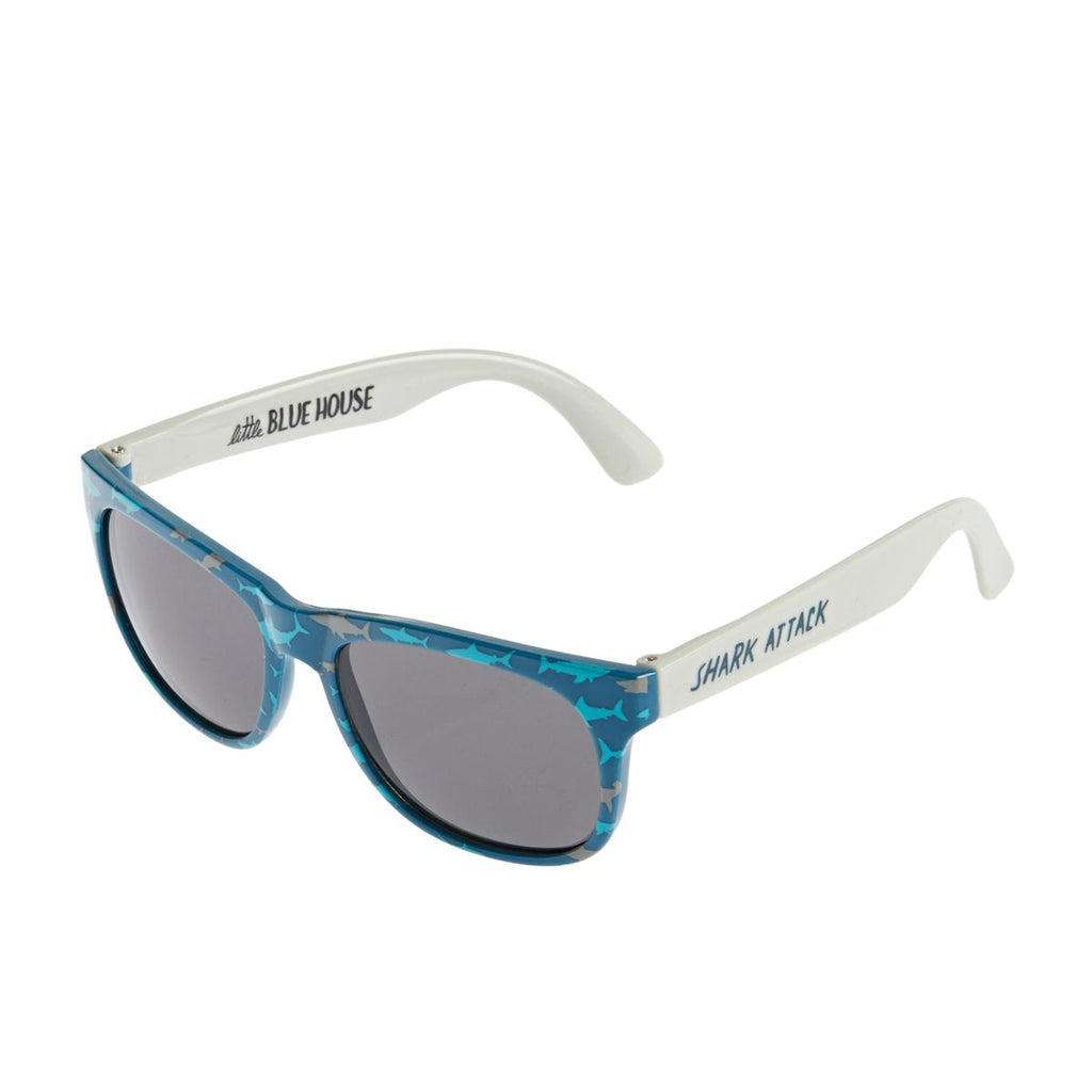 shark print kids sunglasses, wayfarer style, boys